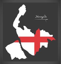 Merseyside map england uk with english national vector