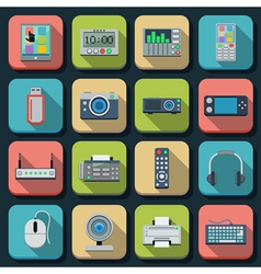 Modern electronic flat icons vector image