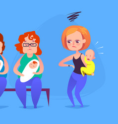 sad mother with a crying child in a queue vector image vector image