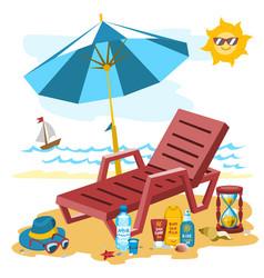 summer time season sea beach shore background vector image