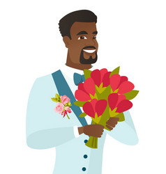 young african-american groom with bridal bouquet vector image