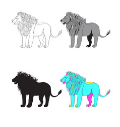 a lion black-and-white vector image