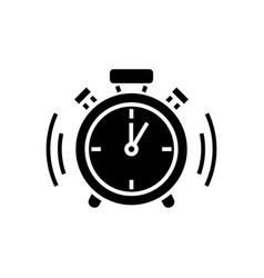 alarm clock icon black sign vector image vector image