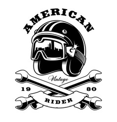 cafe racer helmet with wrenches on white vector image