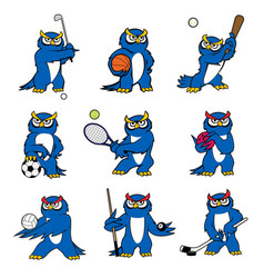 cartoon owl play sports mascot icons vector image