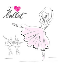 drawing of young ballerina vector image vector image