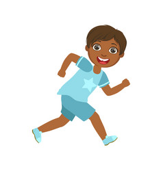 happy little boy running and smiling a colorful vector image vector image