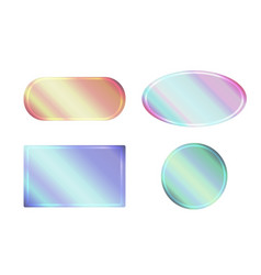 set of pearlescent banners of different shapes vector image vector image