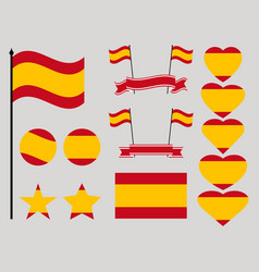 spain flag set collection of symbols heart vector image