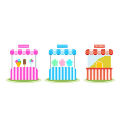 stall with ice cream sweet wadding popcorn vector image