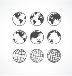 Vecrot globe icon set vector