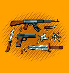 Weapon pop art style vector