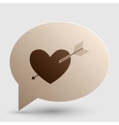 Arrow heart sign Brown gradient icon on bubble vector image vector image