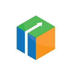 cube 3d box logo image vector image vector image