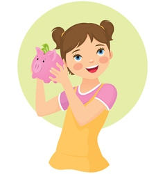 Girl holding money box vector