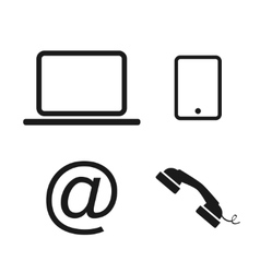 Laptop phone and email icons vector image vector image