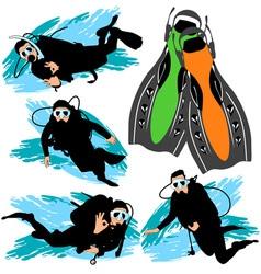 scuba diving silhouettes set vector image vector image