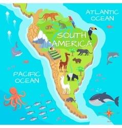 South America Mainland Cartoon Fauna Species vector image vector image