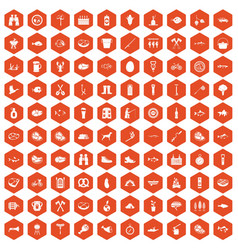 100 bbq icons hexagon orange vector