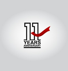 11 years anniversary logotype with black outline vector