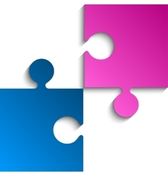 2 Puzzles Pink Blue Pieces JigSaw vector image