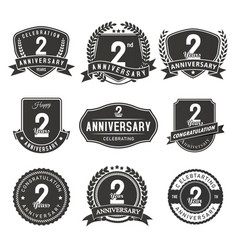 2 year anniversary badge and labels vector image