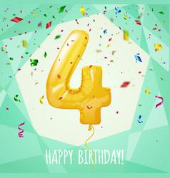 4 birthday greeting card golden balloon vector