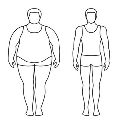 a man before and after weight loss vector image