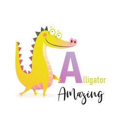 abc for kids funny alligator holding letter vector image