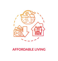 Affordable living red concept icon vector