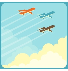 airplanes flying in sky over clouds vector image