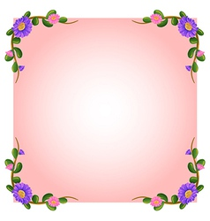 An empty pink template with floral margin vector image