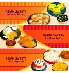 Asian Sweets Horizontal Banners Set vector