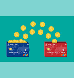bank plastic card to card money transfer vector image