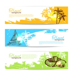 Banner set travel colorful tropical backgrounds vector