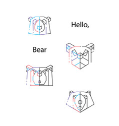 bear triangle heads vector image