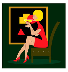beautiful girl drinking alcoholic cocktail vector image