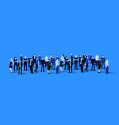 big people crowd on blue background vector image