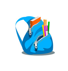 Blue backpack with supplies vector