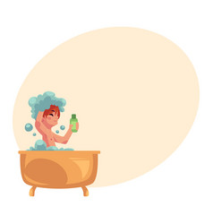 Boy taking bath sitting in bathtub washing hair vector