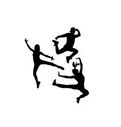 Break dancers silhouette vector
