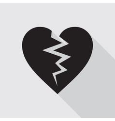 Broken heart flat icon in black color vector image
