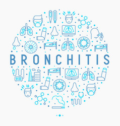 Bronchitis concept in circle with thin line icons vector