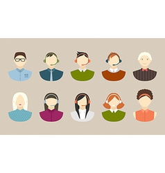 Business and office people flat icons vector image