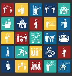 business and teamworking set on color squares vector image