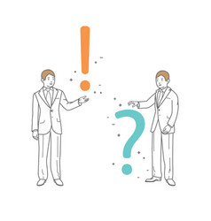 Businessman shows a question mark and exclamation vector