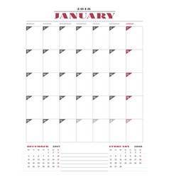 calendar planner template for 2018 year january vector image