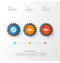 Car icons set collection of automobile carriage vector