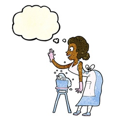 Cartoon housewife washing up with thought bubble vector