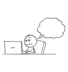 Cartoon tired overworked or stressed or sleepy vector